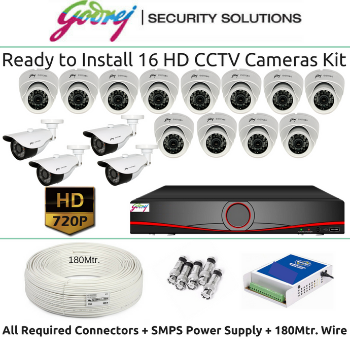 Godrej 16 HD CCTV Cameras & 16Ch. DVR Kit (1MP) - Security System Store