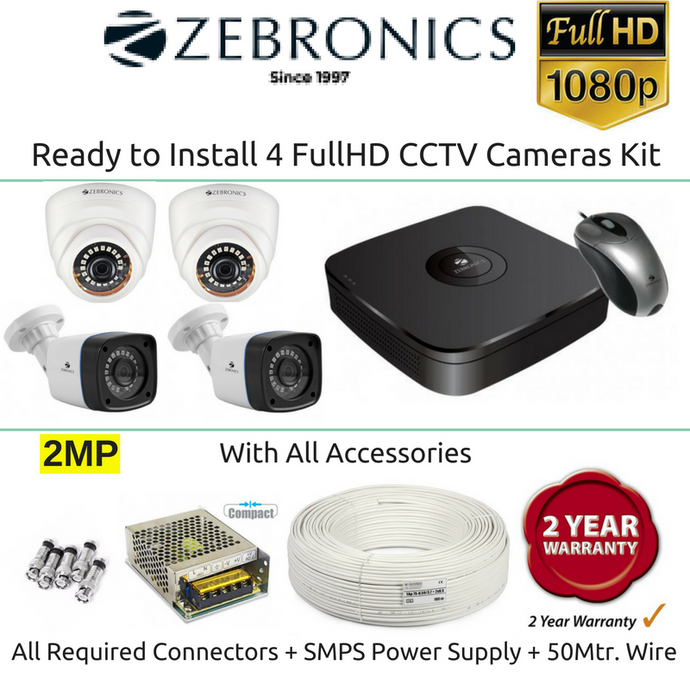 Zebronics 4 FullHD CCTV Cameras with 4Ch. DVR Kit (2MP) - Security System Store