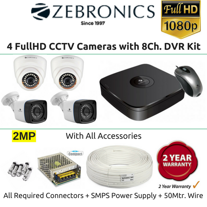 Zebronics 4 FullHD CCTV Cameras with 8Ch. DVR Kit (2MP) - Security System Store