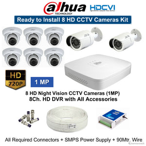 Dahua 1(MP) 8 HD CCTV Cameras with 8Ch. HD DVR Kit - Security System Store