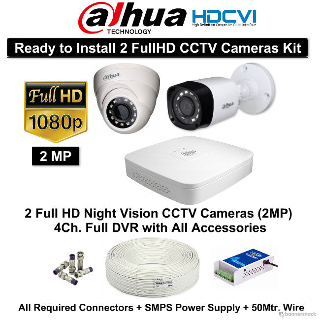 Dahua (2MP) FullHD 2 CCTV Cameras with 4Ch. HD DVR Kit - Security System Store
