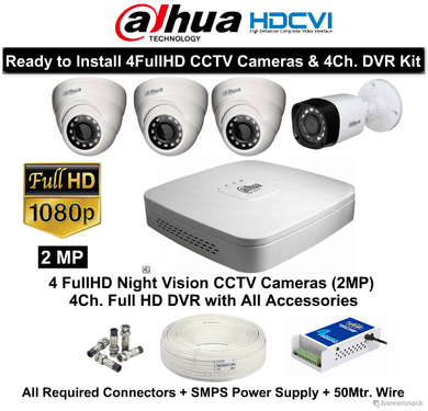 Dahua (2MP) FullHD 4 CCTV Cameras with 4Ch. HD DVR Kit - Security System Store