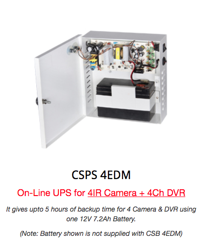 CLD SMPS Power Supply for 4 Cameras with Battery Back-Up Option