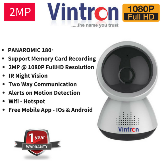 Vintron Wifi Wireless FullHD 2MP CCTV Camera wit Memory Card Recording Option