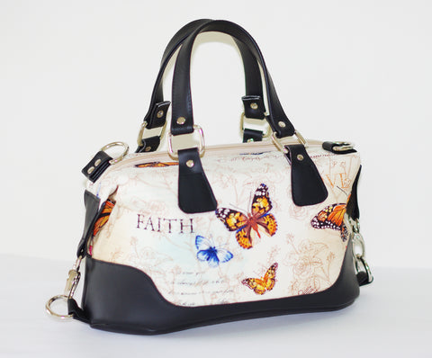 Brooklyn Handbag &  matching NCW purse - Inspiration butterflies/ Black or brown vinyl