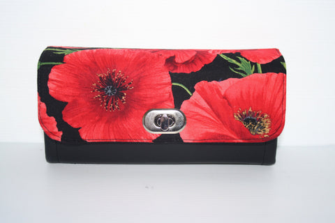 NCW -  poppies floral fabric, clutch wallet, clutch purse