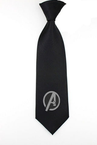 Avengers superhero logo necktie mens skinny tie geek wedding