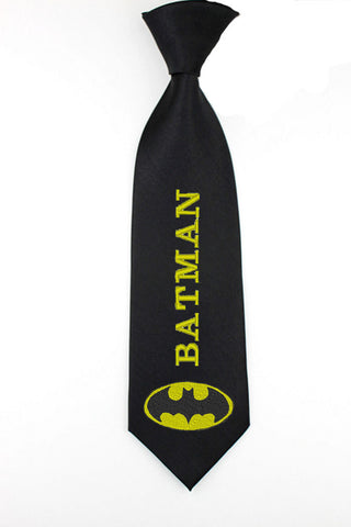 Batman superheroes writing necktie, mens skinny tie
