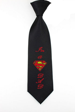 Embroidered personalize i'm a super dad superman mens tie father days necktie mens skinny tie justice league daddy geek comicbook