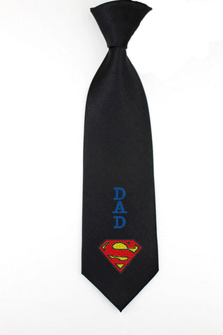 Embroidered personalize super dad necktie, superman mens tie, father days necktie, mens skinny tie, fathers day gifts