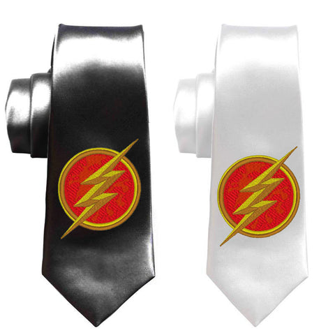 Flash superhero mens necktie, justice league, mens skinny tie, superheroes tie, geek wedding tie, prom graduation party, the flash arrow