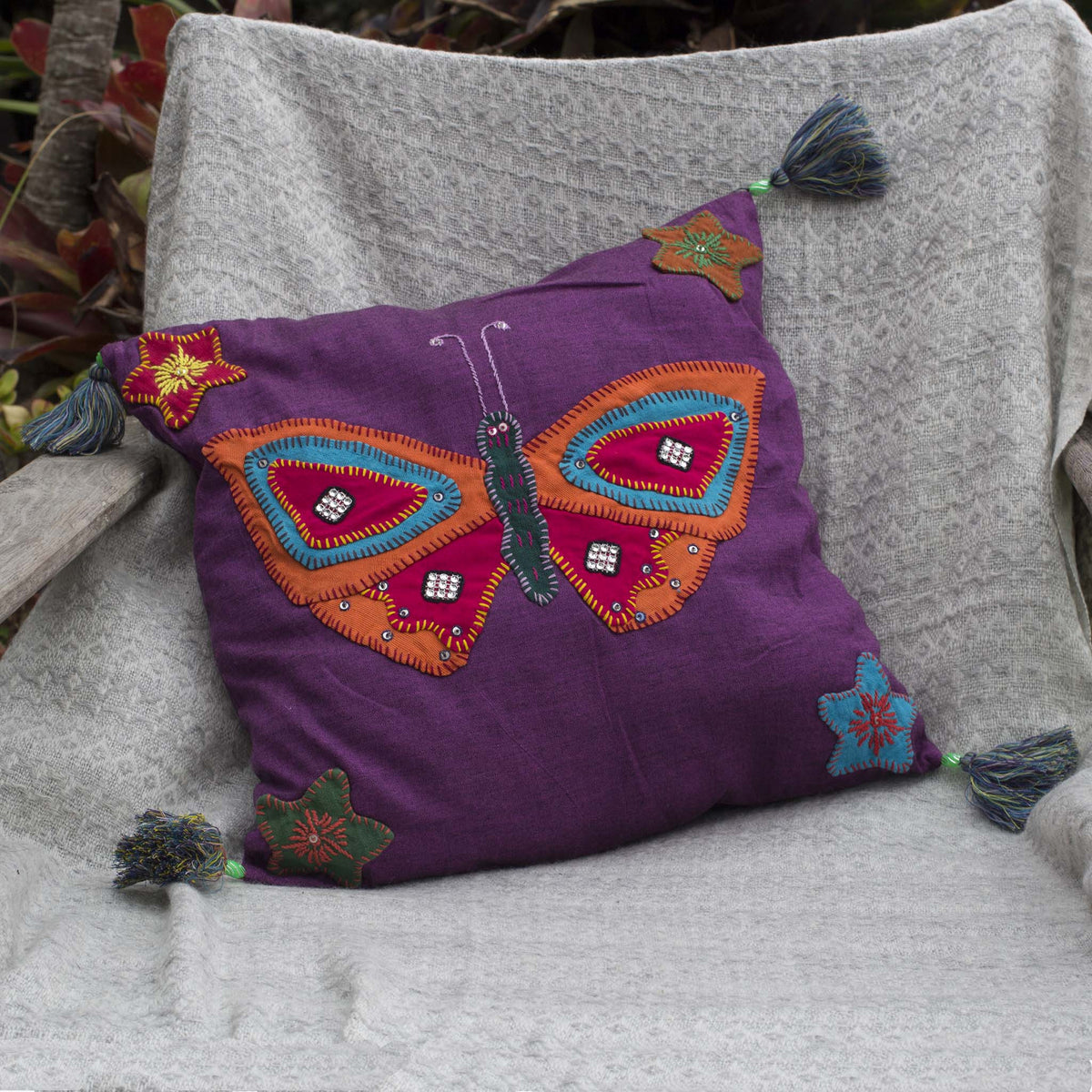 Handmade Burmese butterfly cushion cover