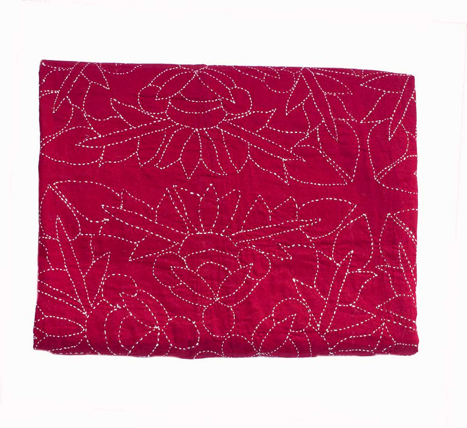 Hand stitched throw - Crimson