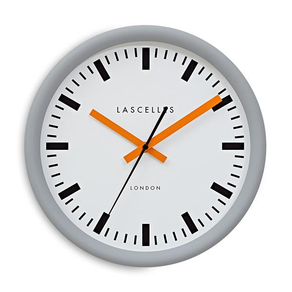 Roger Lascelles Grey Swiss Station Clock with Baton Orange Hands (30cm)