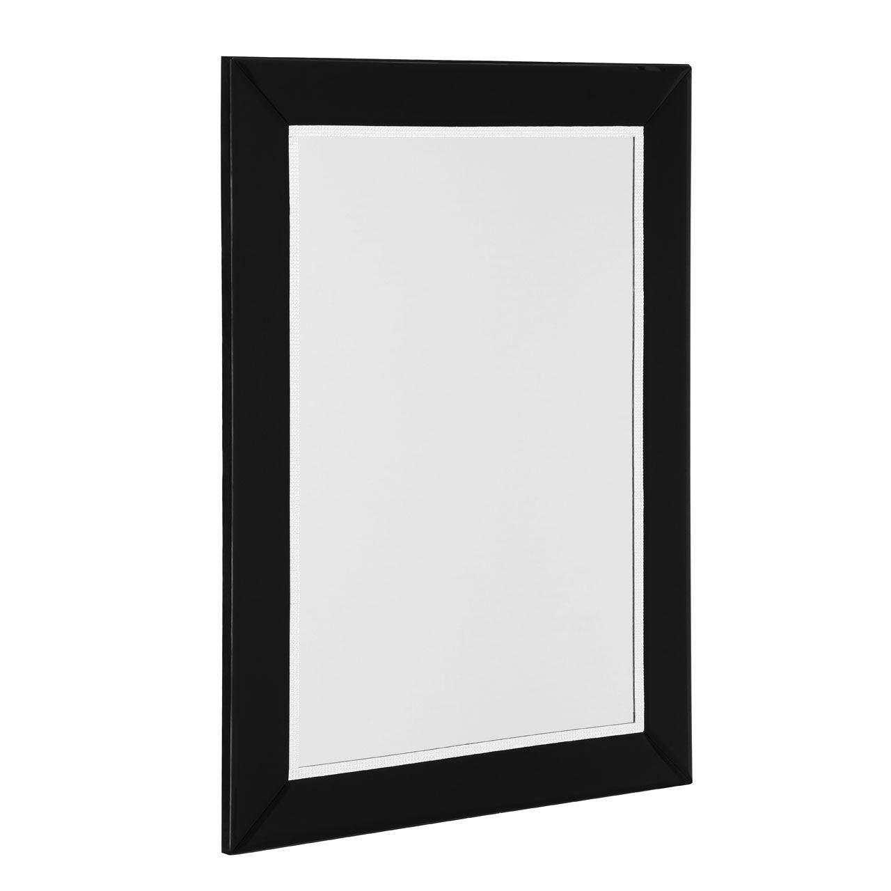 Bevelled Edge/Diamante Detail Black Rectangular Wall Mirror Side