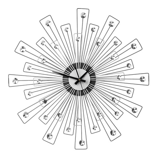 Black/Silver Spoke Design With Crystals Wall Clock