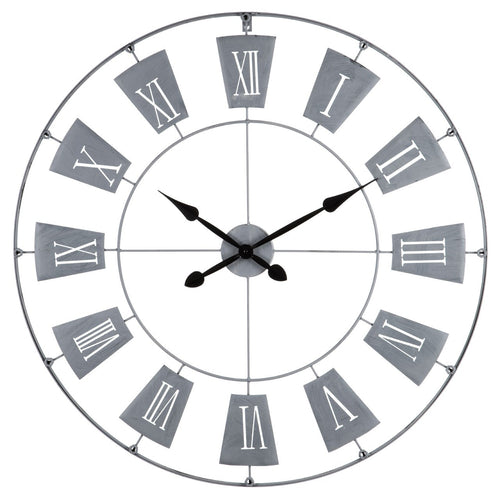 Grey Metal Roman Numerals Wall Clock