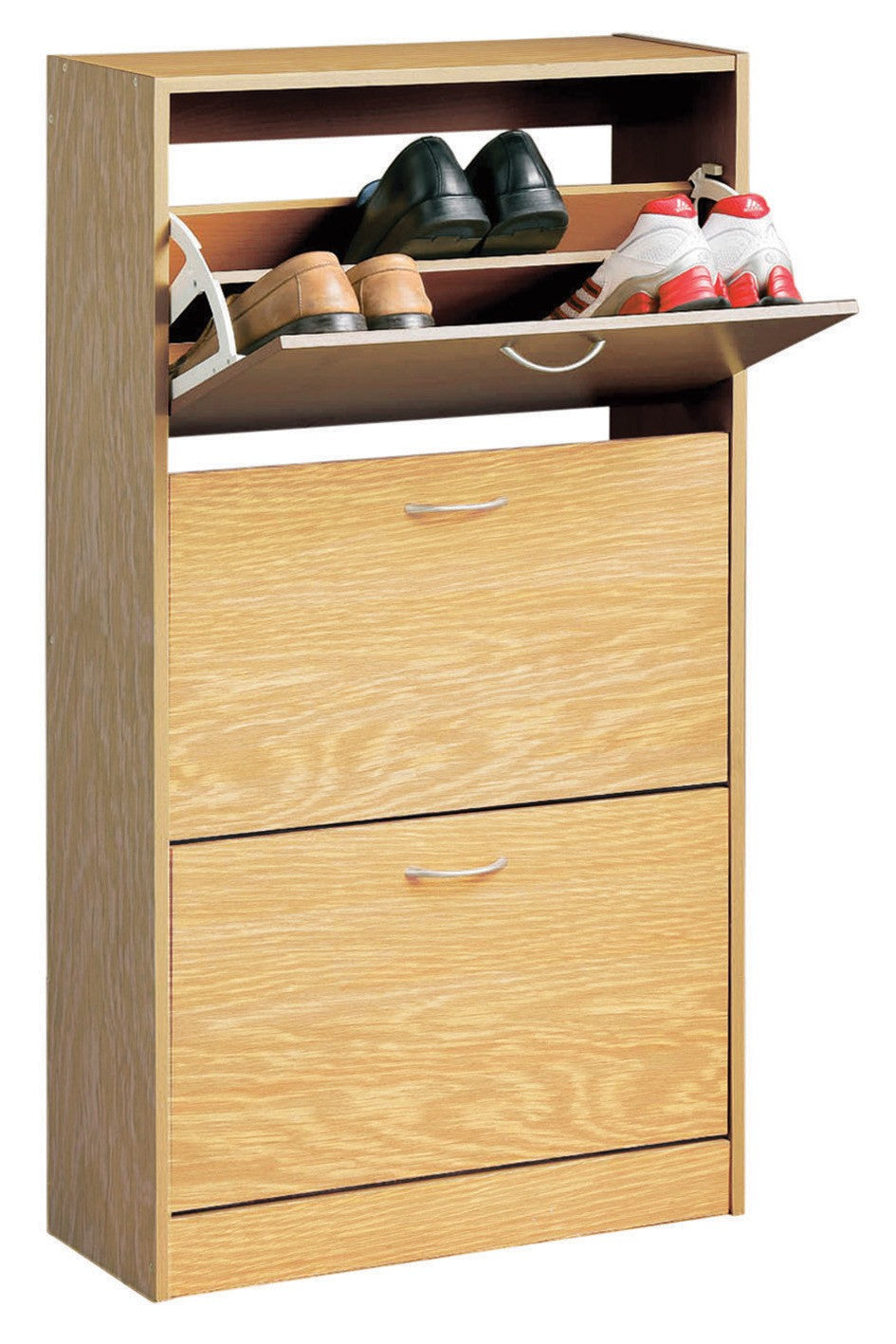 Norsk 3 Drawer Shoe Cupboard (Oak Colour) Open