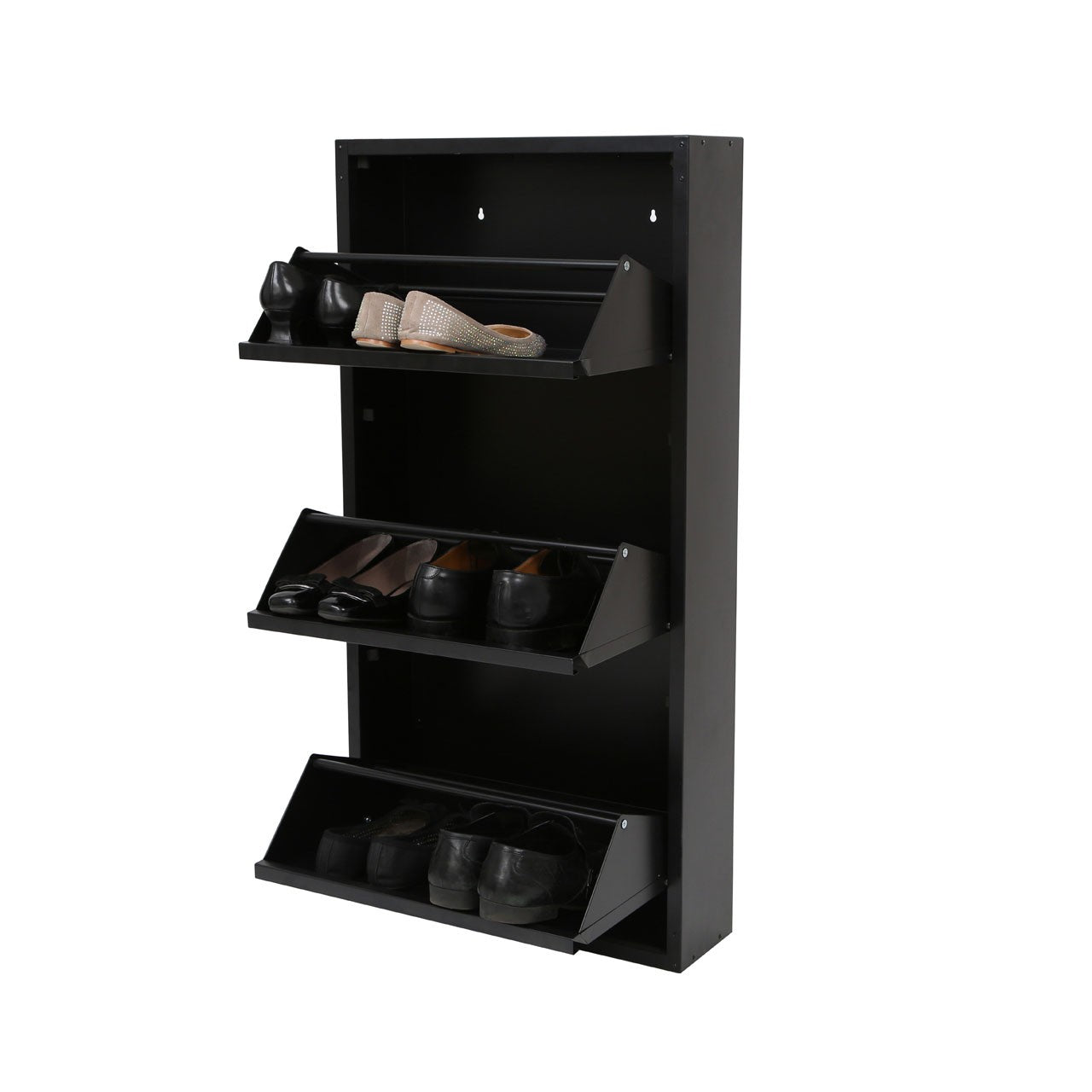 Chic Black Shoe Cabinet Open