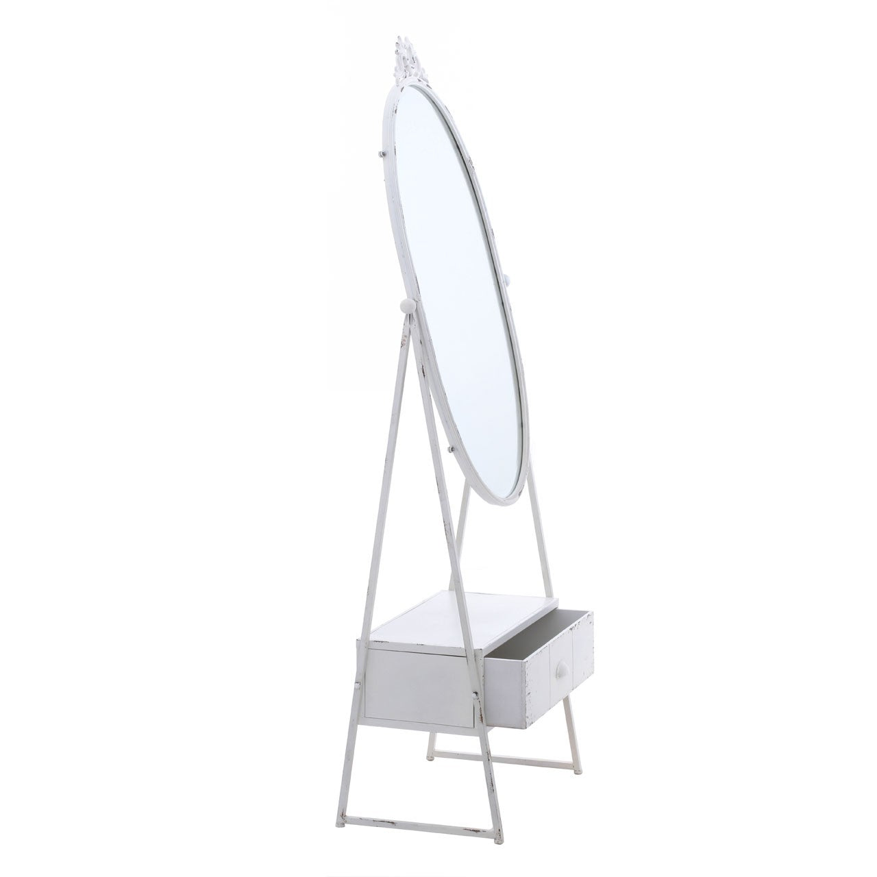 New York Loft Cheval Full Length Mirror (White) - Open Drawer