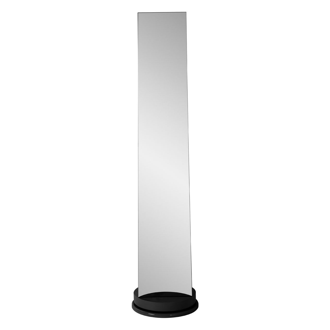Black Floor Standing Revolving Mirror with Storage