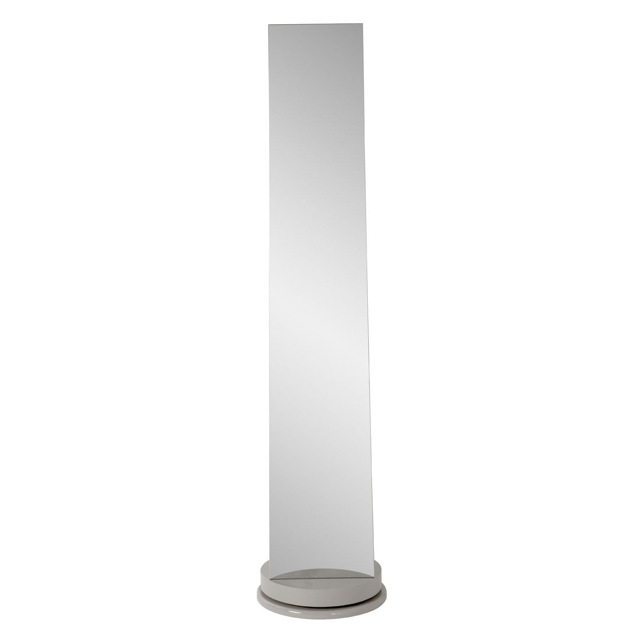Grey Floor Standing Revolving Mirror with Storage
