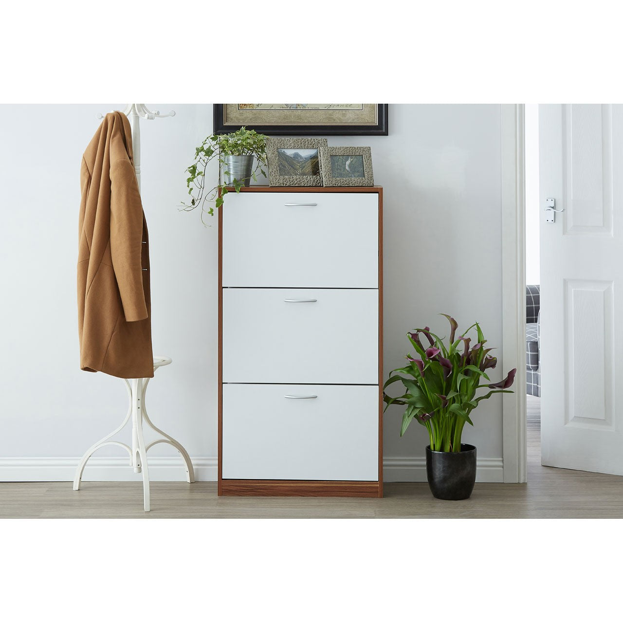 3 Drawer Shoe Cupboard (White & Walnut)