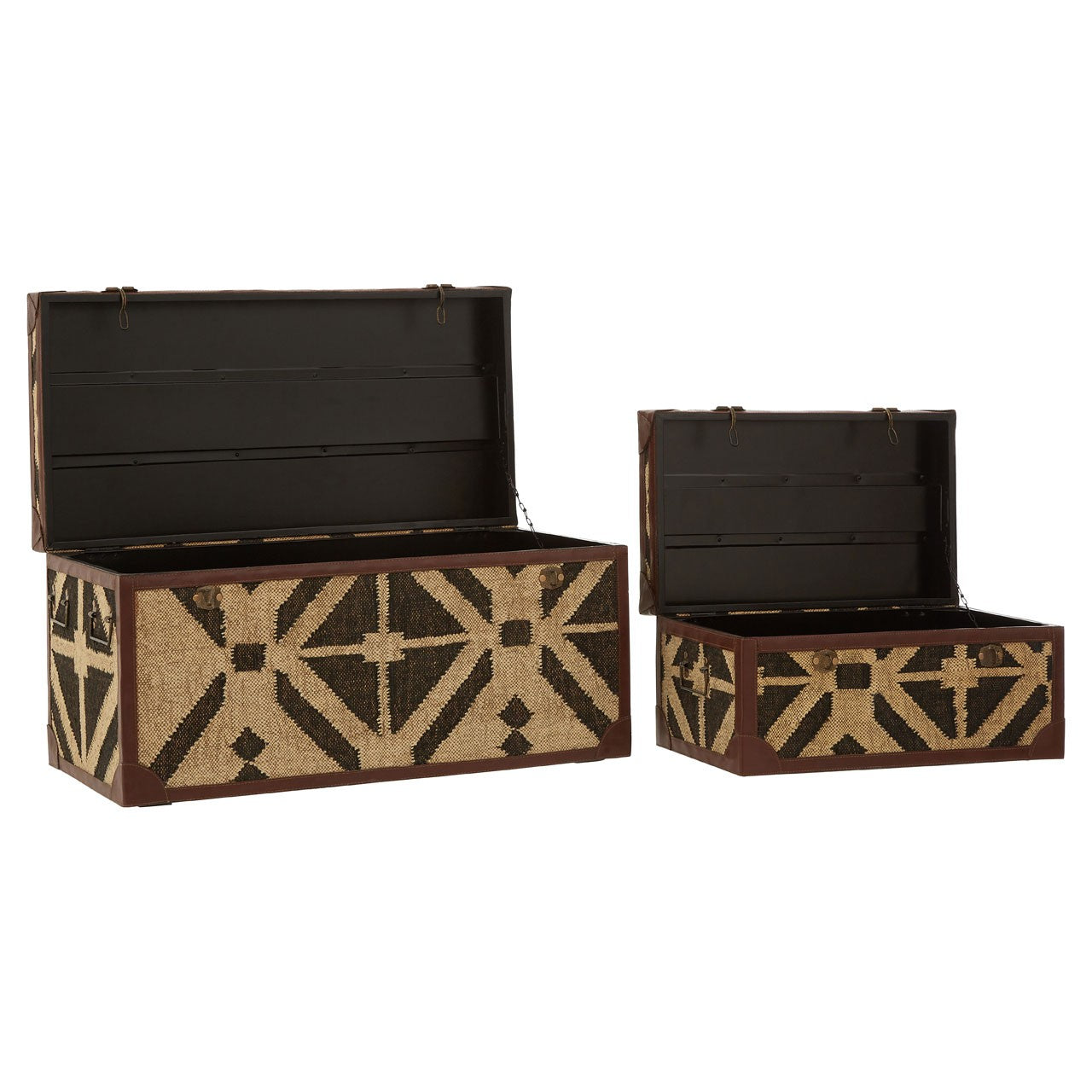 Aztec Storage Trunks (Set Of 2) - Open