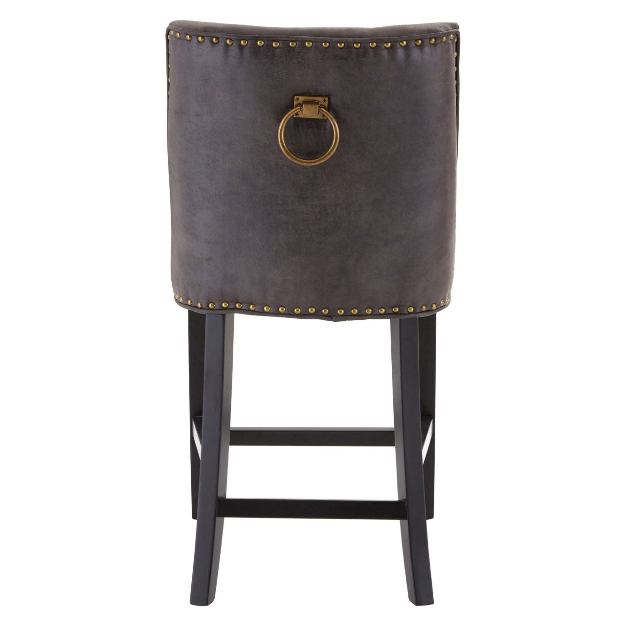 Brown Leather Rodeo Bar Stool - Back