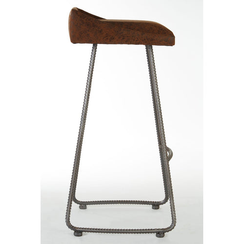 Brown Leather New Foundry Bar Stool