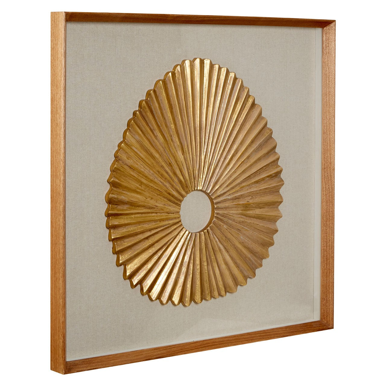 Framed Oval Fan Carving Wall Art
