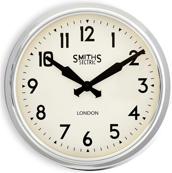 Roger Lascelles Chrome Smiths Retro Clock (37cm)