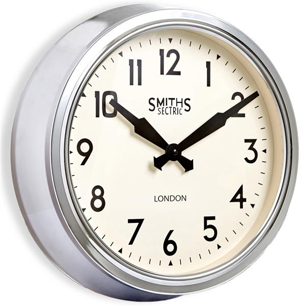 Roger Lascelles Chrome Smiths Retro Clock - Side