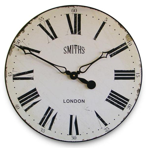 Roger Lascelles Antique Style Off-White Smiths Wall Clock (50cm)