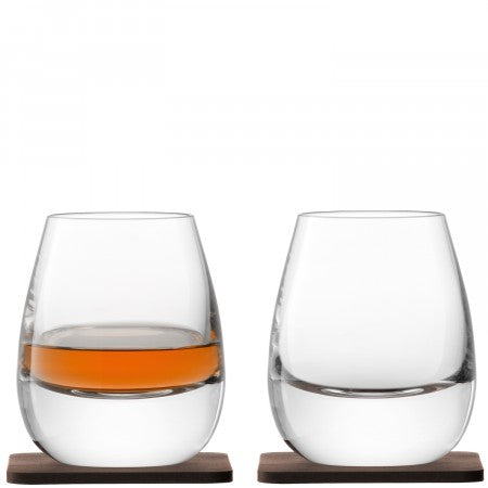 LSA International Islay Whisky Tumbler & Walnut Coaster (Set Of 2)