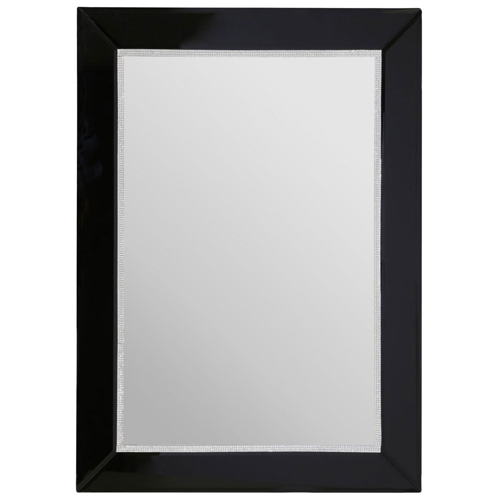 Bevelled Edge/Diamante Detail Black Rectangular Wall Mirror