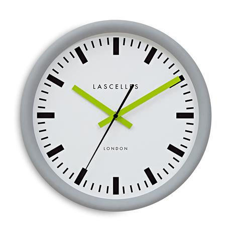 Roger Lascelles Grey Swiss Station Clock with Baton Lime Hands (30cm)