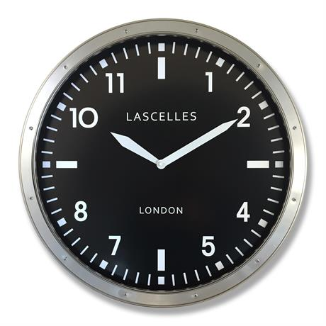 Roger Lascelles Large Brushed Chrome Wall Clock - 45cm