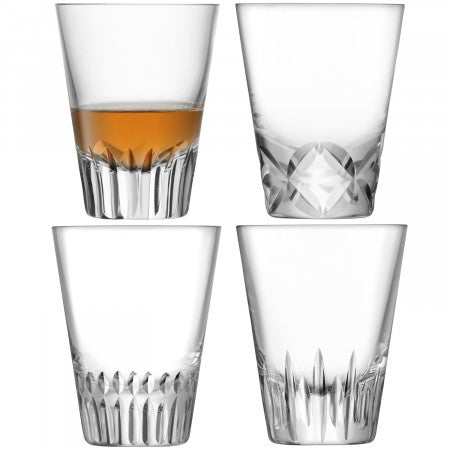 LSA International Tatra Tumbler Clear/Assorted Cuts (225ml Set Of 4)