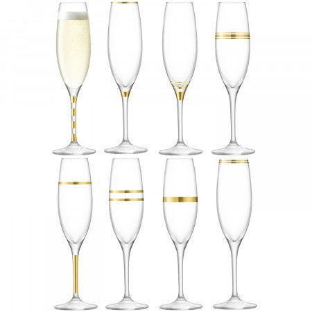 LSA International Deco Champagne Flute 225ml Gold Assorted x 8