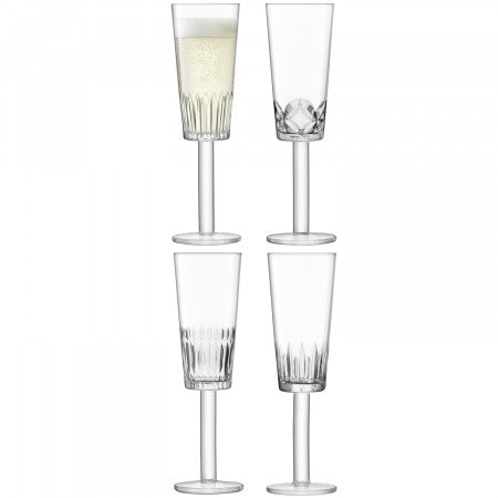 LSA International Tatra Champagne Flute - Assorted Cuts (250ml Set Of 4)