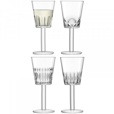 LSA International Tatra Wine Glass Clear/Assorted Cuts (300ml Set Of 4)