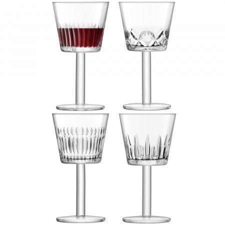 LSA International Tatra Wine Goblet - Assorted Cuts (310ml Set Of 4)
