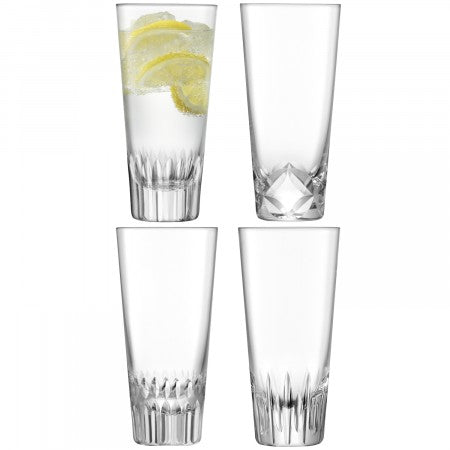LSA International Tatra Mixer Glass Clear/Assorted Cuts (315ml Set Of 4)