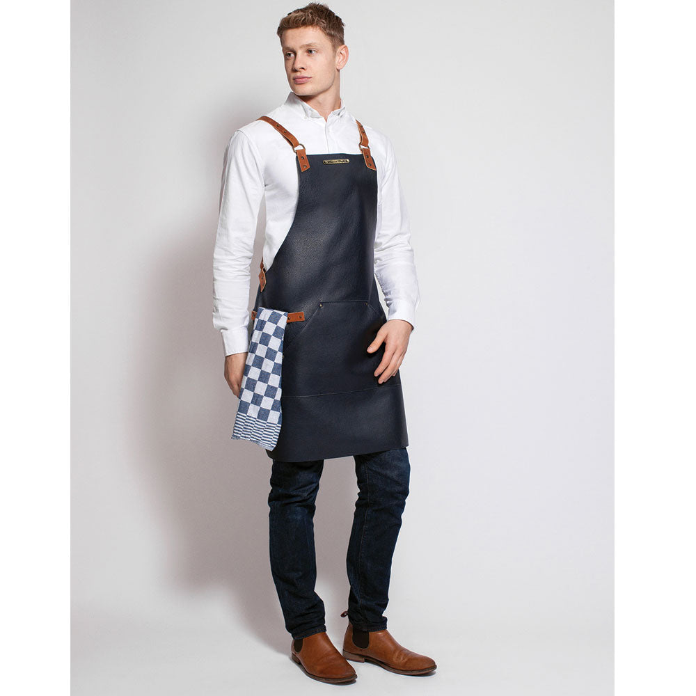Stalwart Backstrap Deluxe Leather Apron (Marine Blue)