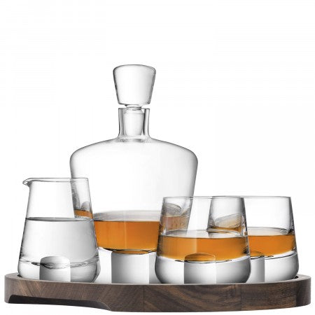 LSA International Whisky Cut Connoisseur Set & Walnut/Cork Serving Tray