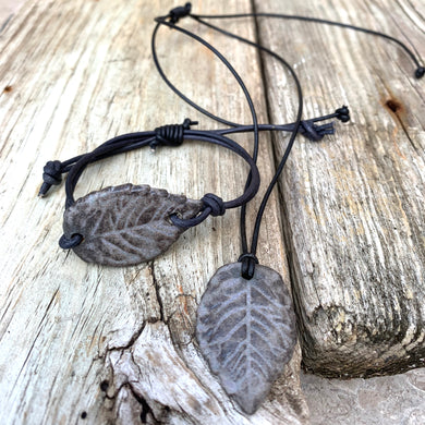 Leaf Necklace & Pendant Set (Adjustable)