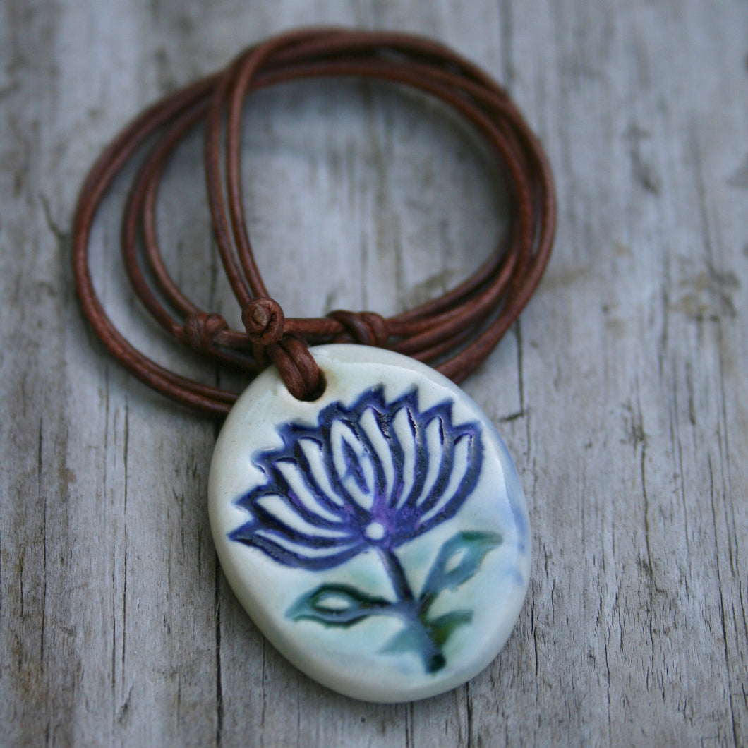 Ceramic Lotus Pendant.