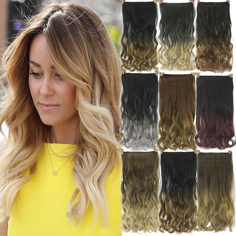 24inch Black To Gray Curly Wavy Hair Extentions Clip In Hair