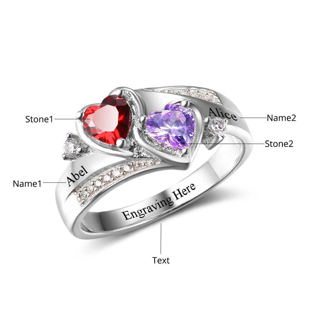 zoom two stone couples rings listing fullxfull birthstone dual ring gemstone il